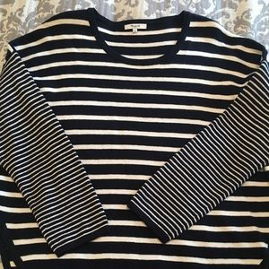 Madewell Navy & White stripe long sleeve sweater.